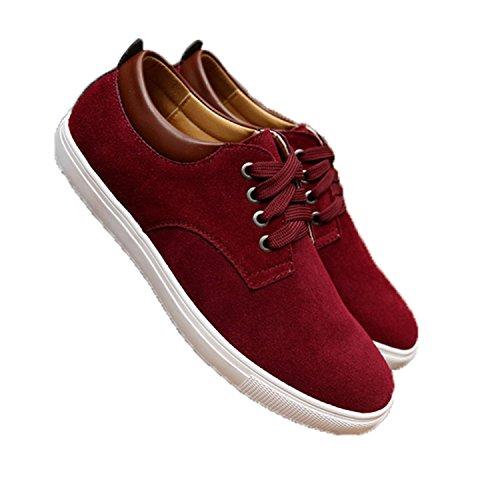 DoSquTiE New Autumn/Winter Suede Men Shoes Men Canvas Shoes Leather Casual Breathable Shoes Flats Big Size 38-49 Wine Red 11