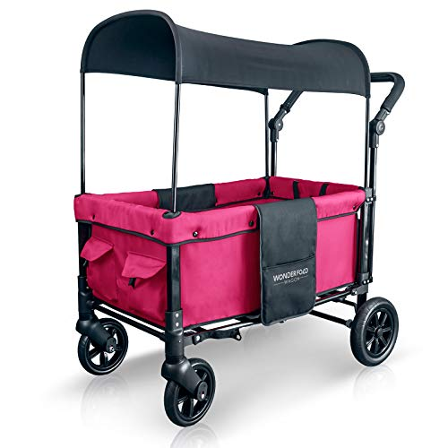 WonderFold Multi-Function 2 Passenger Push Folding Stroller Wagon, Adjustable & Removable Canopy, Double Seats with 5-Point Harness (Fuschia Pink)