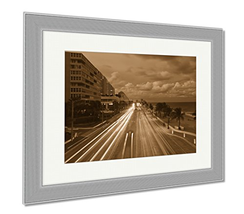 Ashley Framed Prints Fort Lauderdale Beach, Wall Art Home Decoration, Sepia, 30x35 (frame size), Silver Frame, - Florida To Sunrise Fort Lauderdale