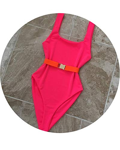 2019 Maillot De Bain Femme Une Piece Badpak Sexy Pure Color Waistband One Piece Swimsuit Bathing Suit,991QW,M