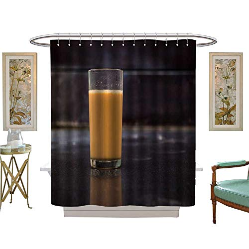 luvoluxhome Shower Curtains Digital Printing hot Masala Tea Masala chai teh Tarik Kerala India Even Tea with re Indian Blend of Satin Fabric Sets Bathroom W69 x L75 (Tiles Ink)