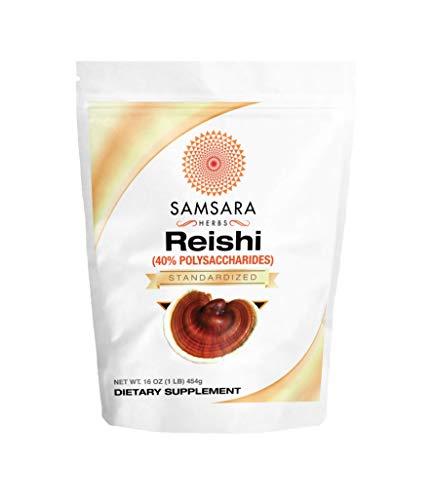 Samsara Herbs Reishi Extract Powder 16oz 454g – 40 Polysaccharides, Duanwood Red Reishi Extract