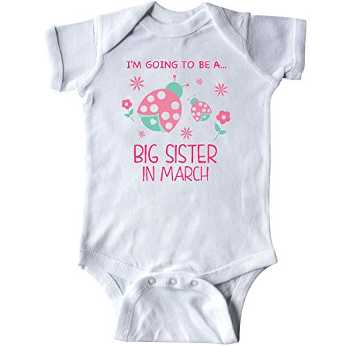 inktastic I'm Going to Be a Big Sister in March Infant Creeper 12 Months White