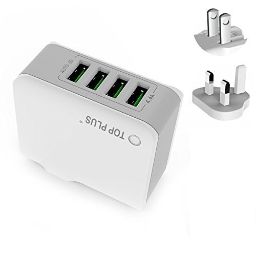 USB Charger Plug,TOP 4-Port USB Wall Charger with US UK International Travel Adapter Series- 4.4A/22W for Apple iPhone iPad Samsung Smartphone Tablet ()