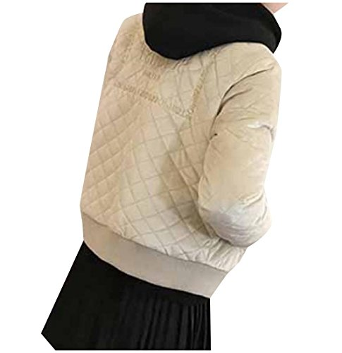 Abetteric Womens Trim-Fit Embroidered Quilted Velour Thin Anorak Jacket Beige (Embroidered Anorak Jacket)