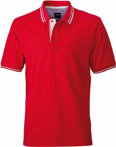 JN947 Herren Lifestyle Polohemd Poloshirt , Farbe: Rot , Gr. L