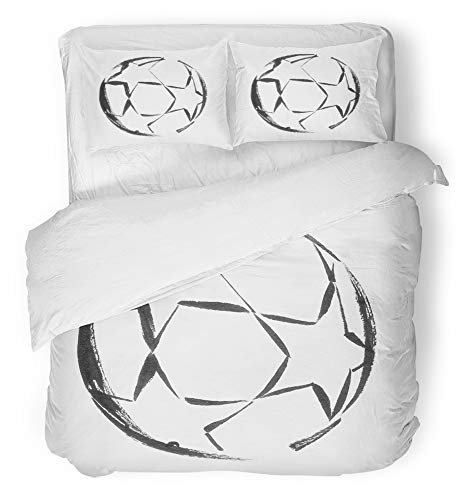 Emvency 3 Piece Duvet Cover Set Breathable Brushed Microfiber Fabric Watercolor Abstract Black Ink Soccer Ball with Stars Activity White Champions Bedding Set with 2 Pillow Covers King Size by Emvency