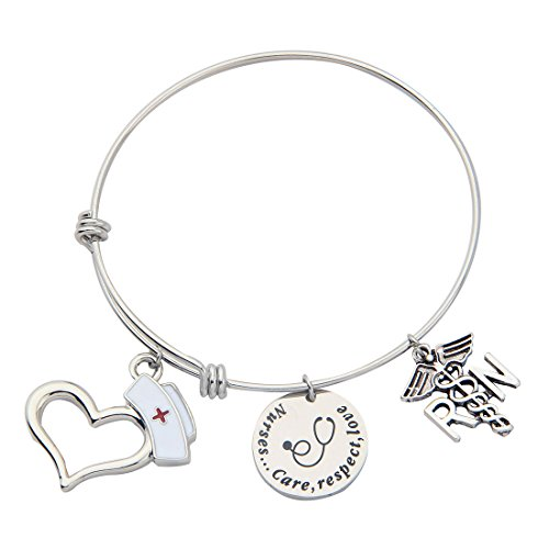 Hand Stamped Care Respect Love Disc Medical RN Heart Hat Charms Necklace Bracelet Set for Nurse Doctor