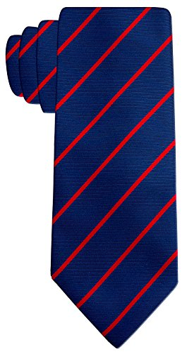 Blue Stripe Necktie (Pencil Stripe Ties for Men - Woven Necktie - Navy Blue w/Red)