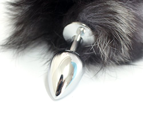 "Eastern Delights Elite 15"" Black Long Fox Tail Anal Butt Plug for Bondage Game(White Point) (Small)"