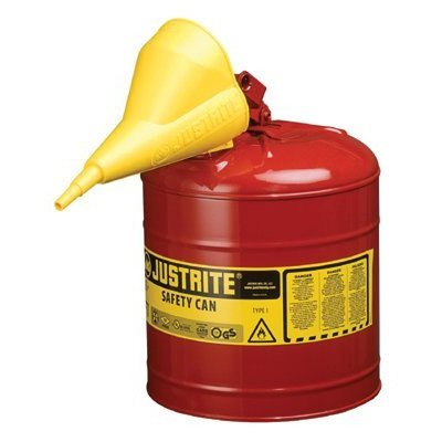 Justrite - Type I Safety Cans 5G/19L Safe Can Red W/Funl: 400-7150110 - 5g/19l safe can red w/funl by - Safe 19l