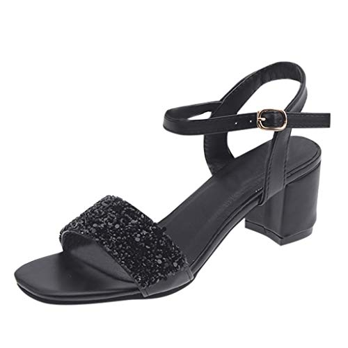 SUNyongsh Women's Fashion Open Toe Sandals Summer Casual Ladies Sandals Square Heels Shoes Black ()