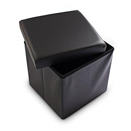 Relaxdays Faltbarer Sitzhocker 38 x 38 x 38 cm stabiler Sitzcube mit praktischer Fußablage als Sitzwürfel aus Kunstleder als Aufbewahrungsbox mit Stauraum und Deckel zum Abnehmen für Wohnraum, schwarz
