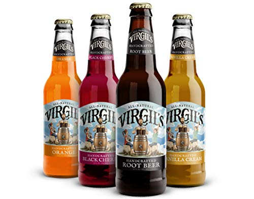 Virgil's All Natural Handcrafted Soda Assorted Pack (Root Beer, Cherry Cream, Orange Cream, Soda Cream) - 12 Fl Oz | Total 12 Pack (Virgil Cream Soda)