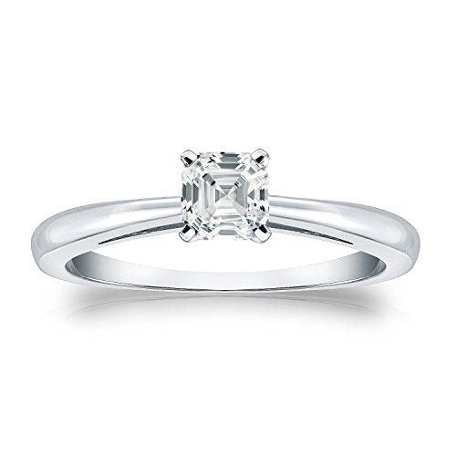 Diamond Wish Platinum Asscher-cut Diamond Solitaire Ring (1/2 carat TW, O.White, I1-I2) 4-Prong, Size 5.5
