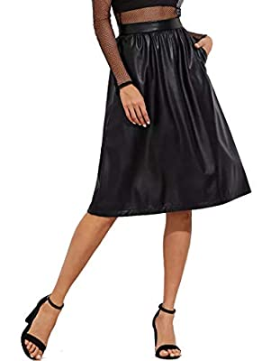 JOAUR Women's PU Leather Midi Skirt Pleated High Waist Skate Skirt with Pockets