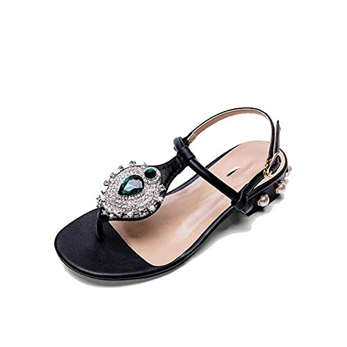 - Rhinestone Diamond Block Jewel Pearl T Strap Shoes Sandals Leisure Fashion Bohemia Style Crystal,Black,35
