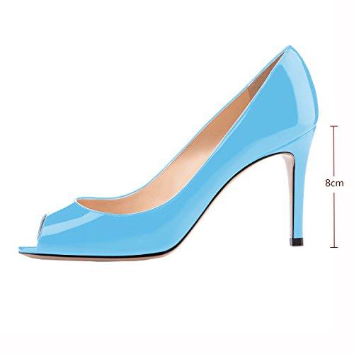 Pumps Women Peep Eldof Mid Open Pumps Heel Classic Stiletto Formal Toe Bridal Toe Blue Wedding Heel wTtw5gdRq