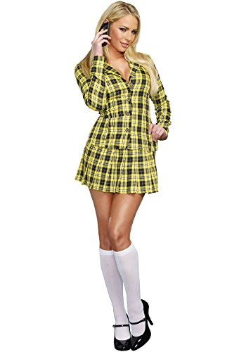Dreamgirl Women's Fancy Girl Yellow Plaid Clueless Iggy Schoolgirl Costume, Plaid, Small