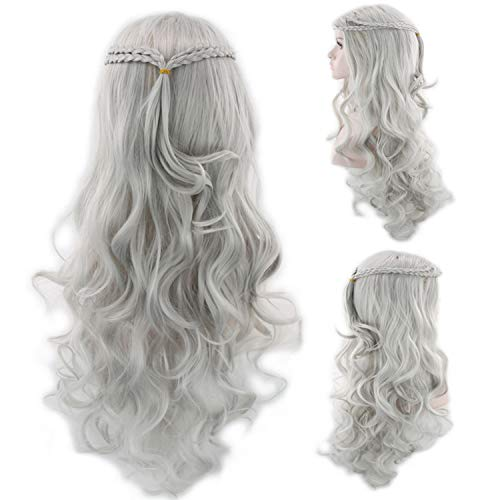 Daenerys Targaryen Long Wave Curly Hair Cosplay Wigs Synthetic Costumes Wigs for Halloween Theme Parties Grey