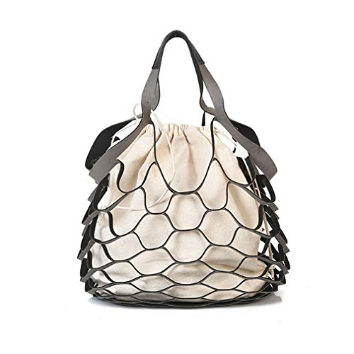 (ANANXILA Summer Bucket Bag Hand-Woven Hollow Out Mesh Shoulder Handbag Shopping Bag pink )