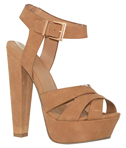 Pump Cross 5 Inch Criss - MVE Shoes Women's Peep Toe Thick Wide Strap High Heel Sandal - Sexy Criss Cross Dress Heel - Synthetic Leader Summer Shoes, tan nb Size 9