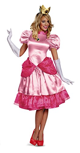 Disguise Women's Nintendo Super Mario Bros.Princess Peach Deluxe Costume, Pink, (Super Mario Bros Woman Costumes)