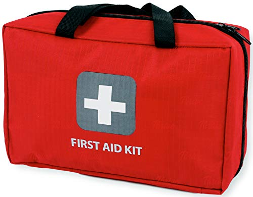 - First Aid Kit - 291 Pieces - Bag. Packed with Hospital Grade Medical Supplies for Emergency and Survival situations. Ideal for The Car, Camping, Hiking, Travel, Office, Sports, Pets, Hunting, Home