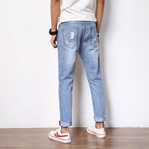 Jeans 8 En Droit Printemps Bleu Pantalons Troué Déchiré Straight Yuandian Denim Clair Hommes Détresse 7 Été wfP8xxIqY