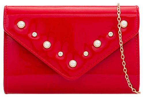 HandBags Trim Girly Pearls Bag Girly HandBags Clutch Red RwFq6xx