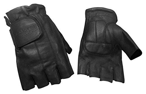 Redline Men's Gel Padded Fingerless Motorcycle Leather Gloves, Black G-059 (2XL)