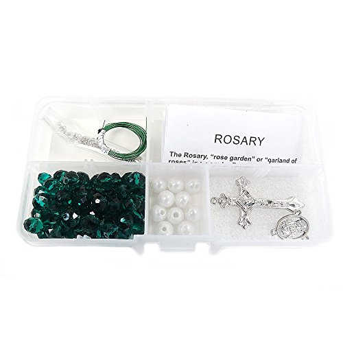 (Linpeng Rosary DIY  kit - Catholic Prayer Beading Kit - First Communion Gifts For Boys Girls - Green Crystal, Pearl Beads Rosary Necklace Making Supplies - Beads size around 9mm - Emerald  -1 set)