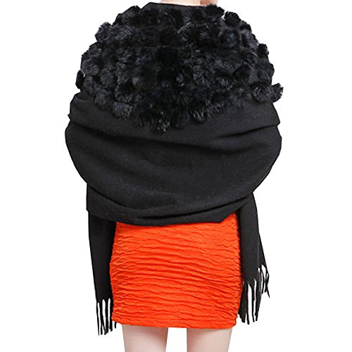 TLH Women's Exotic Design 100% Wool Rabbit Fur Pom Ball Soft Scarf Wrap Shawl Black