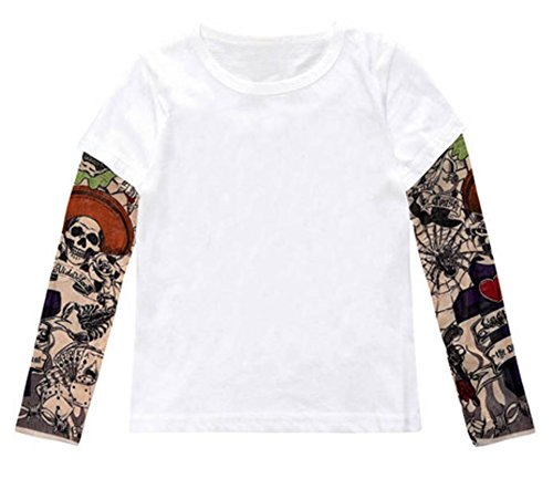 stylesilove Unisex Kid Cotton T-Shirt with Mesh Tattoo Sleeve (100/3T, White)