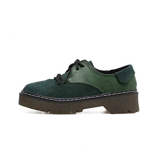 T-JULY Womens Wedges Oxfords Shoes - Classic Lace-up Low Heel Round Toe Suede Comfortable Shoes Green 8atsgh1P