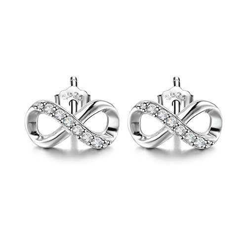 F.ZENI Women Earring Silver 925 Sterling Silver Accent Infinity Forever Stud Earring for Women (Sterling Sparkle Silver)