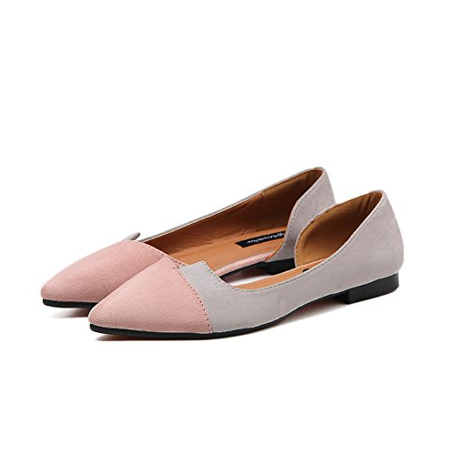 Flats Dress Slip Tone Pink Pointed Shoes T Two Women's Toe Casual on JULY pETn4wxq