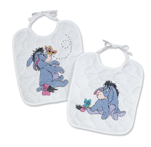 (Janlynn Stamped Cross Stitch Kit, 11-Inch by 9-1/2-Inch, Eeyore and Butterflies Bib Pair)