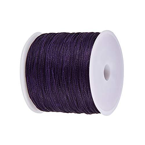 - JEWELEADER 116 Yards Round Waxed Polyester Cord 0.5mm Macrame Craft DIY Thread Rattail Beading String for Jewelry Making Chinese Knotting Kumihimo Shamballa Friendship Bracelets Purple