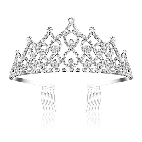 Frcolor Rhinestone Tiara Crown with Comb Wedding Bridal Birthday Headband Princess Crystal Crowns and Tiaras for Women