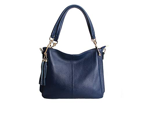 Dark Shoulder Hobo Women Bag Cowhide Blue Bag Hobo Satchel Hobo Bag Bag Ruiatoo for Tassel Tote I6UPqpxzwW