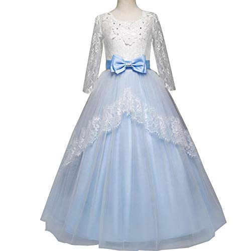 QINJLI Children's Wedding Dresses Girls' Cropped Sleeves, lace Princess Dress, Bow, Back, Pettiskirt, Halloween, Christmas, Birthday Dress -