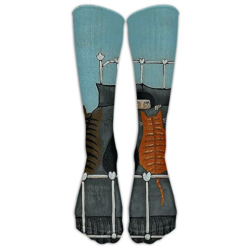 Five Cat And A Girl Compression Socks Soccer Socks Knee High Socks Long Stockings For Running,Jogging,Cross Training,Cycling,Relief