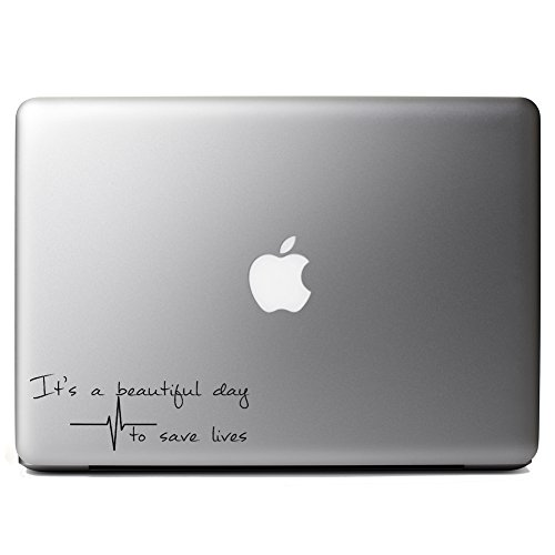 New It's A Beautiful Day To Save Lives Derek Shepherd Grey's Vinyl Sticker Laptop iPhone Cell Decal