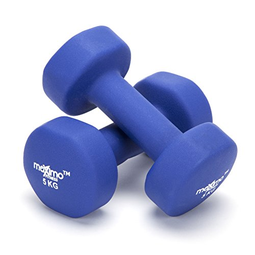 Maximo Fitness Mancuernas de Neopreno (Par) - 2 x 5kg - Pesas de Mano Perfectas para el Desarrollo de Fuerza, Tonificación Muscular, Gimnasia en Casa y ...