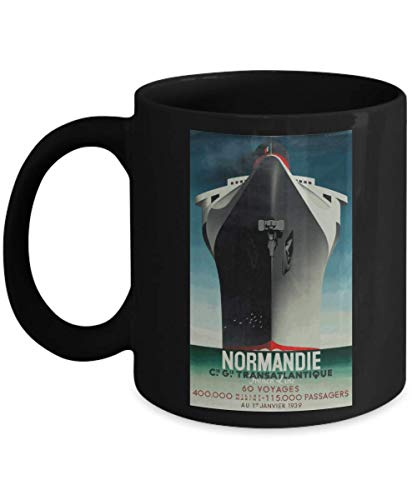 Normandie - French Ocean Liner - Iconic Art Deco Travel Poster Design by A M Cassandre - Ceramic Coffee Mug