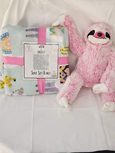 Warm & Snuggly Throw & Soft & Cuddly Plush Matching Hombre Sloth Set
