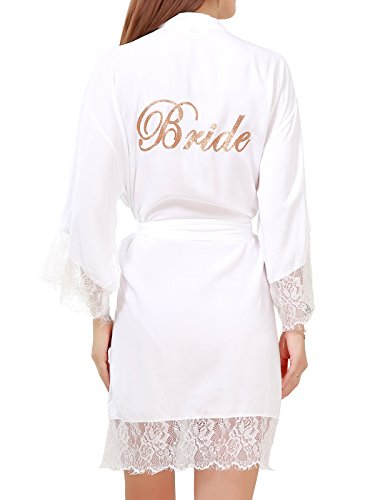 Robe Bridal Lace (Women's Cotton Kimono Short Robes with Gold Glitter for Bridesmaid and Bride with Lace Trim Small=US 2-6 White(bride))