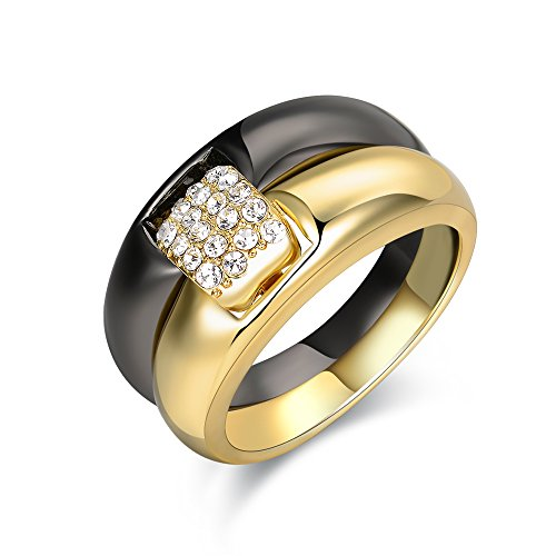 (Mytys 2 Tone Gold and Black Gun Plated Double Ring Set Fashion Jewelry for Women)