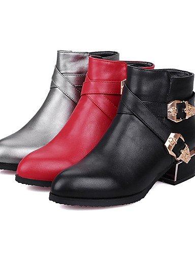 XZZ/ Damen-Stiefel-Lässig / Kleid-Kunstleder-Blockabsatz-Modische Stiefel / Stifelette-Schwarz / Rot / Grau gray-us6 / eu36 / uk4 / cn36